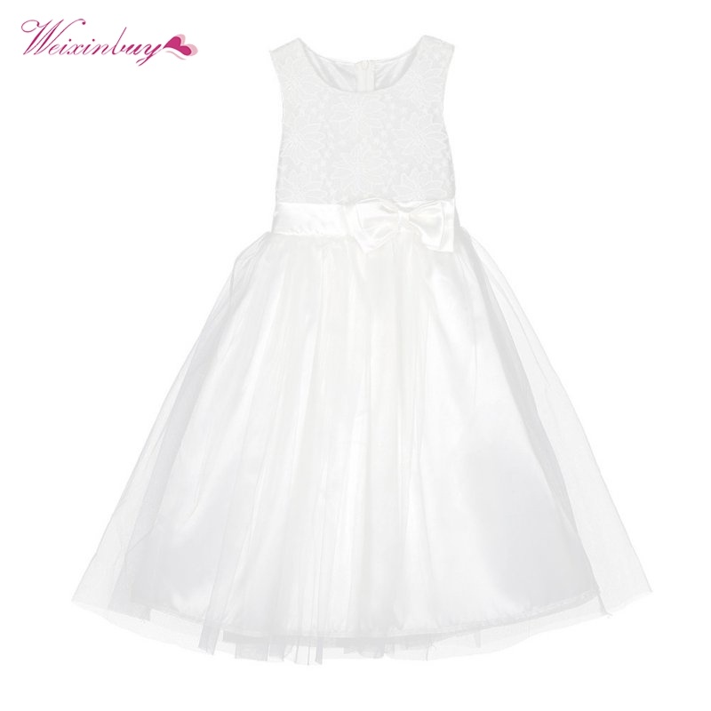 Summer Vestido Girl Kid Baby Princess Party Wedding White Lace Bow Tulle Tutu Dresses