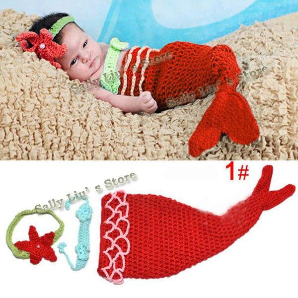 Детские младенческие одеяло «хвост русалки» ракушками вязаные крючком Костюм Русалки комплект Подставки для фотографий ручной работы животных Стиль SG026 - Цвет: Red
