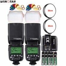 2x Godox TT685N 2.4 جرام اللاسلكية HSS 1/8000s i TTL فلاش Speedlite + X1T N الزناد + 10x2500 مللي أمبير بطارية لنيكون كاميرات DSLR