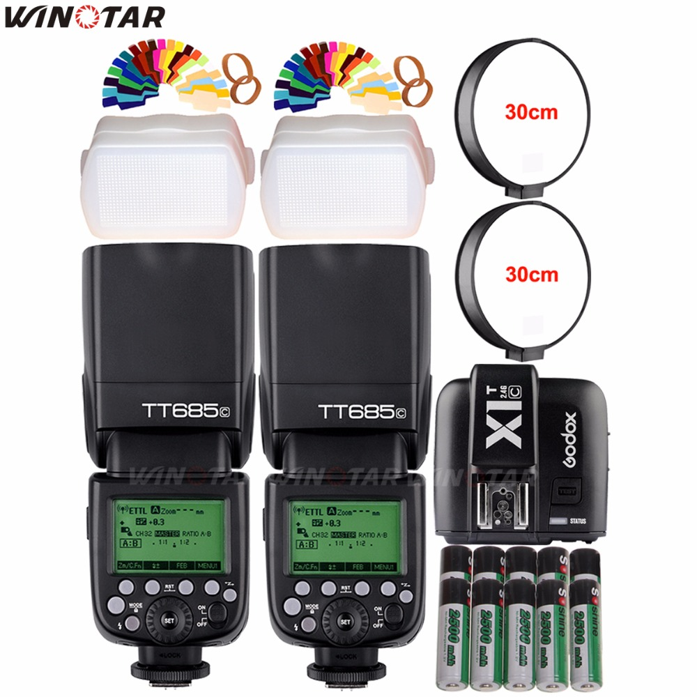 2x Godox TT685N 2.4G Wireless HSS 1/8000s i-TTL Flash Speedlite + X1T-N Trigger + 10x 2500mAh Battery for Nikon DSLR Cameras godox v860iic v860iin v860iis x1t c x1t n x1t s hss 1 8000s gn60 ttl flash speedlite 2 4g transmission godox softbox filter
