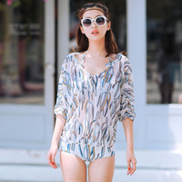 NIUMO New Woman High Waist Swim Bikini Suit Spa Swimsuit Bikini Three Piece Suit Swimwear Print