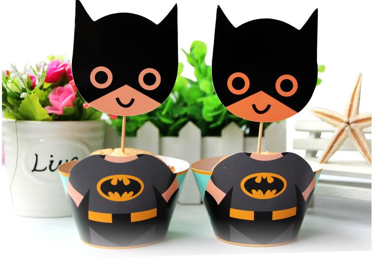 12pcs Wraps+12 Toppers Lovely Batman Cupcake Wrappersu0026toppers Cake  Decoration Baby Shower Kids Birthday Party