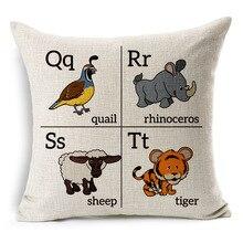 Cojín decorativo oficina en casa moda Throw Pillow niños ABCD conocimiento mapa inglés alfabeto de dibujos animados almohada