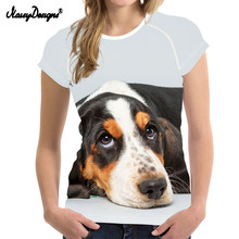 NoisyDesigns Woman Summer T Shirt Cute 3D Dog Basset Hound Print Fashion Brand Female T-shirts Kyliejenmer 2019 Short Sleeve Tee dog print tee