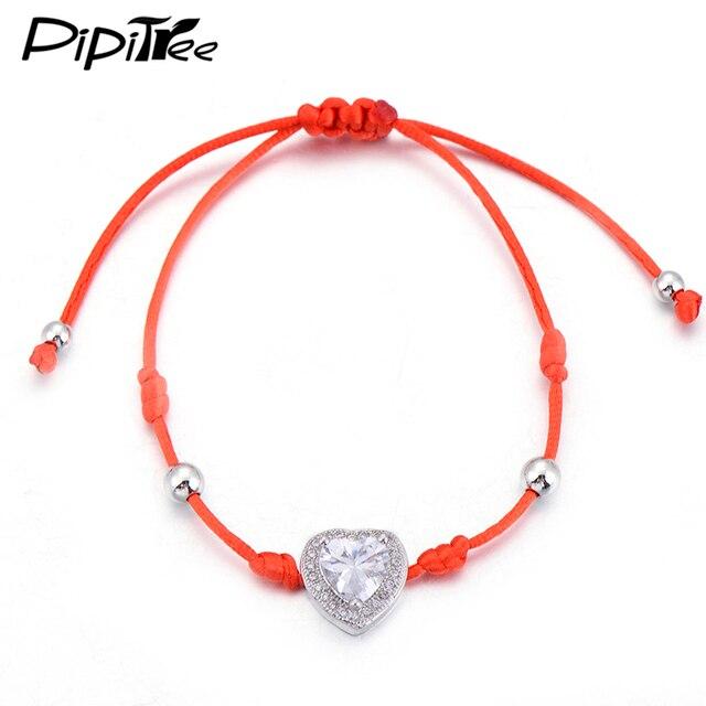 Pipitree Red String Love Cz Crystal Heart Bracelet For Women Handmade Beaded Charm Bracelets