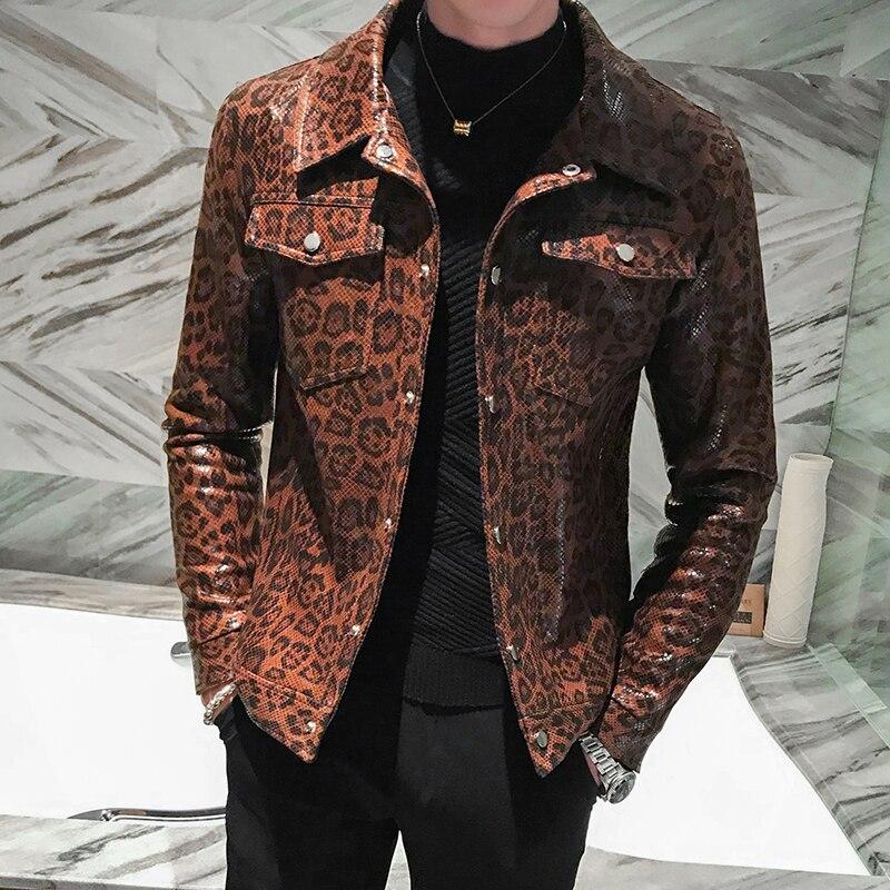 Leather Jacket Locomotive Head Wind Leather Clothing Loose Coat Jaqueta De Couro Masculina 2019 Autumn Leopard Print Pocket Man