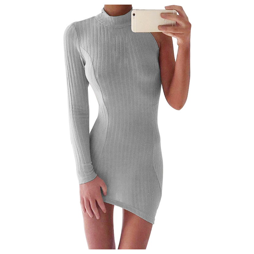 Knitted Vintage Dress New Sexy One-Shoulder Women's Winter Dresses Fashion Stand Collar Long Sleeve Dresses