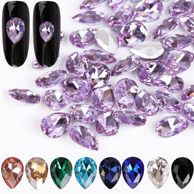 10pcs Glass Crystal Rhinestones 3D Water Drop Stones Nail Art Decoration Strass Polishing Charm Design Accessories Jewelry BE030