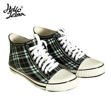 Hellozebra Rain Boots Like Canvas Shoes Women Ladies Plaid Low Hoof Heels Waterproof Round Toe Rainboots 2017 New Fashion Design