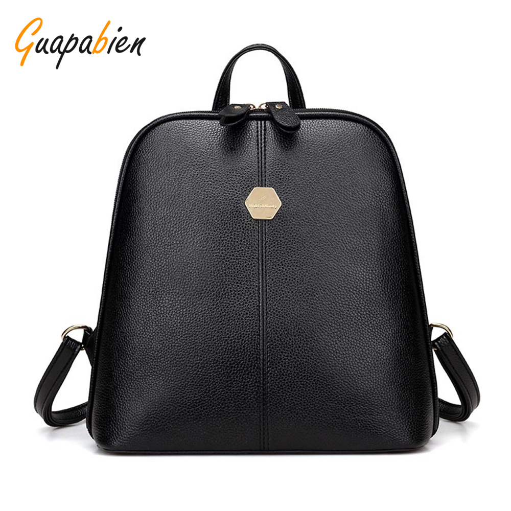 Guapabien Vintage Shell Leather Women Backpack Solid Color Black Zipper School Bag for Teenager Small Back Pack Shoulder Bag