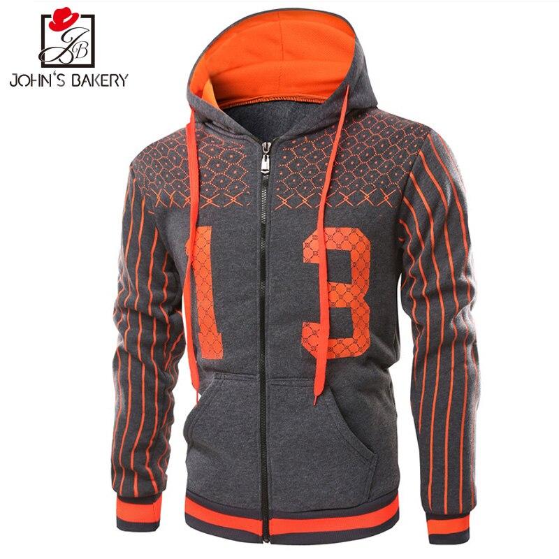 Winter Hoodie Male Cardigan 2018 New Long Sleeve Hoodies Men Zipper Sweatshirt Stripes Hoodies Mens Hooded Plus Size Coat Jacket