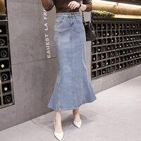 New Fish Tail Denim Skirt Women Mermaid Trumpet Long Skirt Ankle Length Buttons Empire High Waist Jeans No Stretch B92791