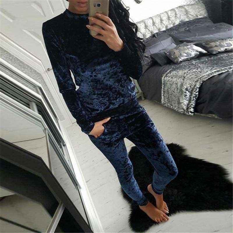 Осенний Бархатный спортивный костюм, женский комплект, зимний спортивный костюм из двух частей, Женский Теплый свитшот, комплект из 2 предметов, женский брючный костюм