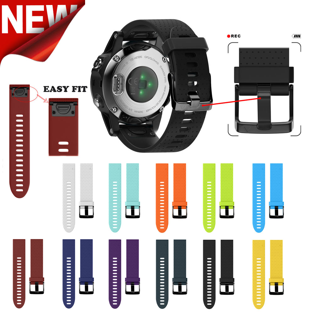 Soft Silicone Band 20mm Width Garmin Fenix 5s Silicone Strap Outdoor Sport Band Quick Release Watchband for Garmin Fenix 5s