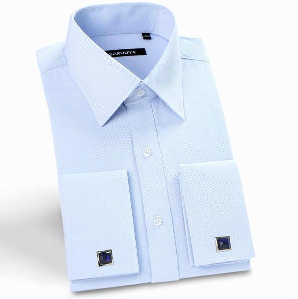 2016 Para Hombre de Lujo de Manga Larga camisas de Puño Francés Mancuernas de la boda camisas de los hombres Slim Fit Camisas de Vestir Ropa Formal Masculina Social