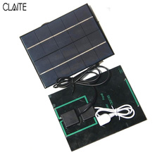 CLAITE 5V 0.7A Sunpower Solar Panel Charger Dual Output Efficiency Solar Cells Power Bank Camping Charger For 18650 Battery
