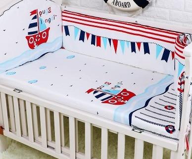 Promotion! 5PCS Pink Baby Bedding Set Newborn Infant Cartoon Crib Bedding,include:(bumpers+sheet)