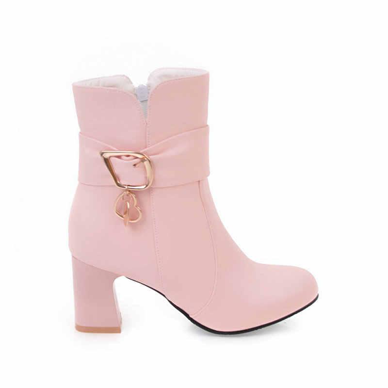 Kadın Pu yarım çizmeler kalın yüksek topuklu fermuar yuvarlak ayak bahar sonbahar bayan ayakkabıları siyah pembe beyaz