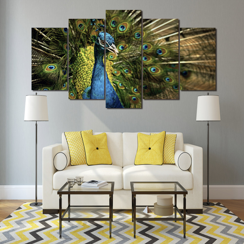Peacock Living Room Decor Online Get Cheap Peacock Canvas Paintings Aliexpresscom