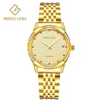 PRINCE GERA Luxury 18K Gold Women's Automatic Watch 283 Shining Diamond Dial Elegant Ladies Mechanical Automatic Men's Watches