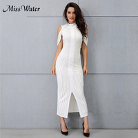 Miss Water 2018 Woman Black White Crystal MidCalf Solid Dress Stand Sexy Back Short Dress Vestidos Celebrity Evening Party Dress