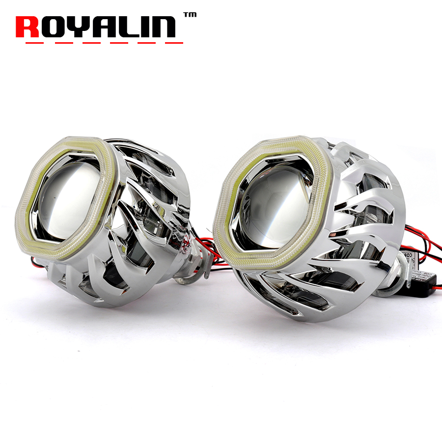 royalin led drl double angel eyes halo rings mini projector lens bi xenon h1 headlight shrouds white red h4 h7 auto lamps diy ROYALIN Car Double LED COB Angel Devil Eyes Headlight Lens H1 Bi Xenon Lights Projector H4 H7 Motorcycle Square DRL Lamp Retro