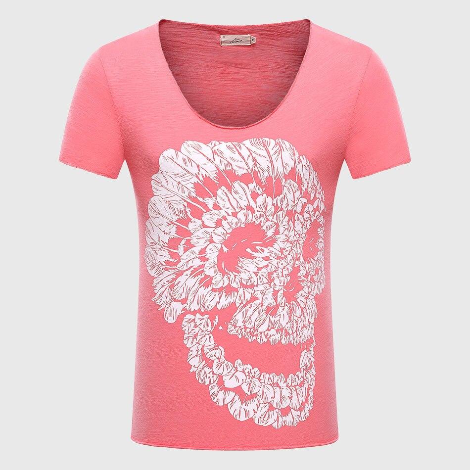 Männer Schädel 3D T Shirts Baumwolle Graphic Tees Tops V-ausschnitt - Herrenbekleidung - Foto 4