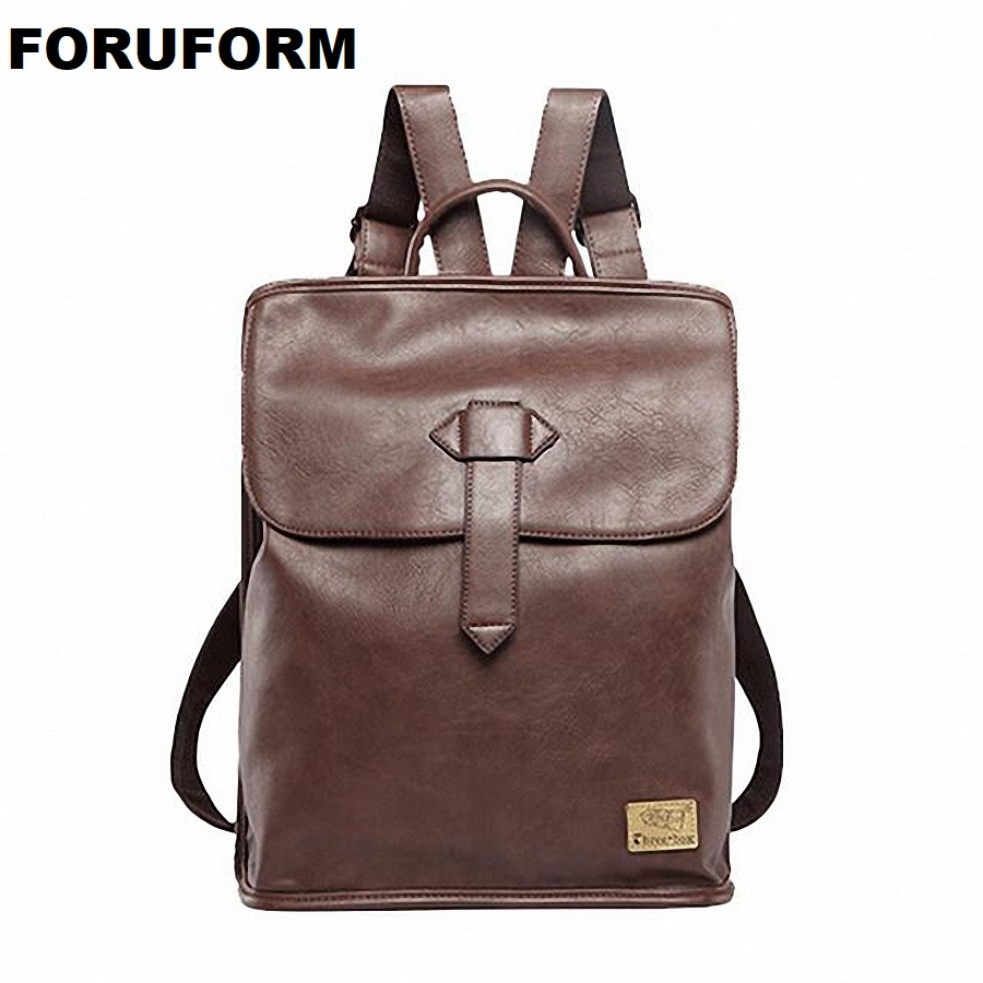 New men backpacks vintage leather backpack travel bag student casual 14 inch laptop backpack school bags girls LI-1596 chic canvas leather british europe student shopping retro school book college laptop everyday travel daily middle size backpack