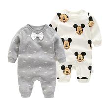 Комбинезоны для новорожденных мальчиков и девочек, Модный комбинезон с длинными рукавами, весенне-осенняя одежда для мальчиков в джентльменском стиле, хлопковые розовые пижамы