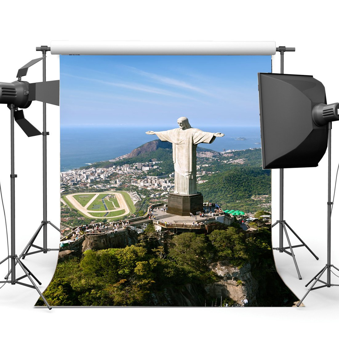 Brazil Backdrop Elegant Statue Backdrops Nature Landscape Mountain Seaside Forest Trees Blue Sky White Background-in Photo Studio Accessories from Consumer Electronics
