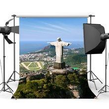 Brezilya Zemin Zarif Heykeli Arka Planında Doğa Manzara Dağ Sahil Orman Ağaçları Mavi Gökyüzü beyaz arka plan