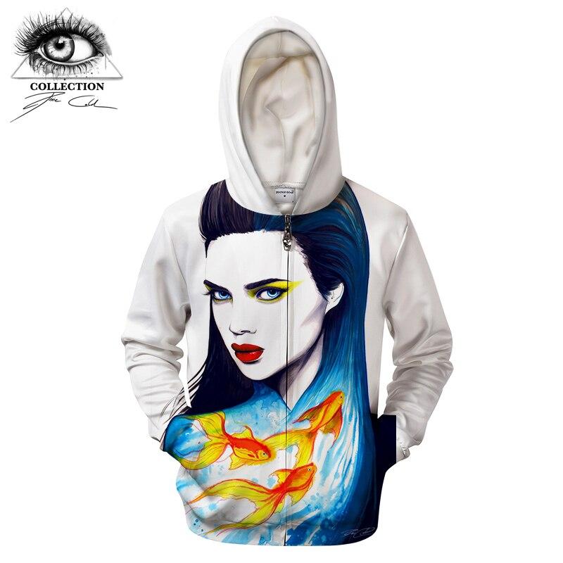 The Sea by Pixie cold Art Streetwear 3D Digital Printed Hoodies Sweatshirt Unisex Brand Zipper Hoodie Drop Ship Tracksuits ZOOTO