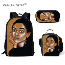 ELVISWORDS 3pcs/set Black Art African Printing School Bags For Kids Girl Children Primary Backpack