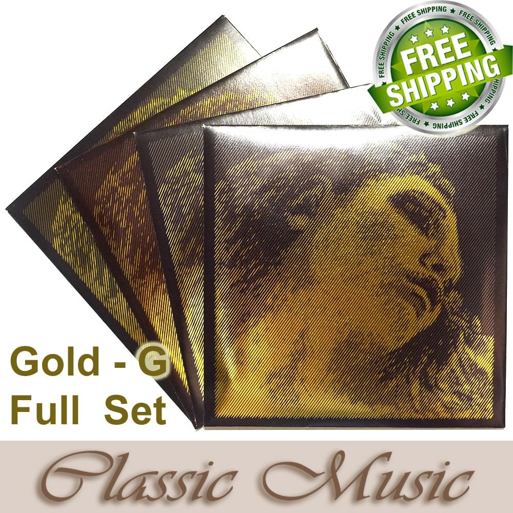 Бесплатная доставка, 4/4 Evah Pirazzi золотые Струны для скрипки, полный набор (золото G), набор шаровых наконечников, сделано в германии