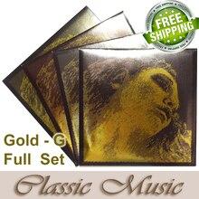 Envío libre, 4/4 Evah Pirazzi Violín de Oro Conjunto Completo (Oro G), Set Ball End, hecho en Alemania