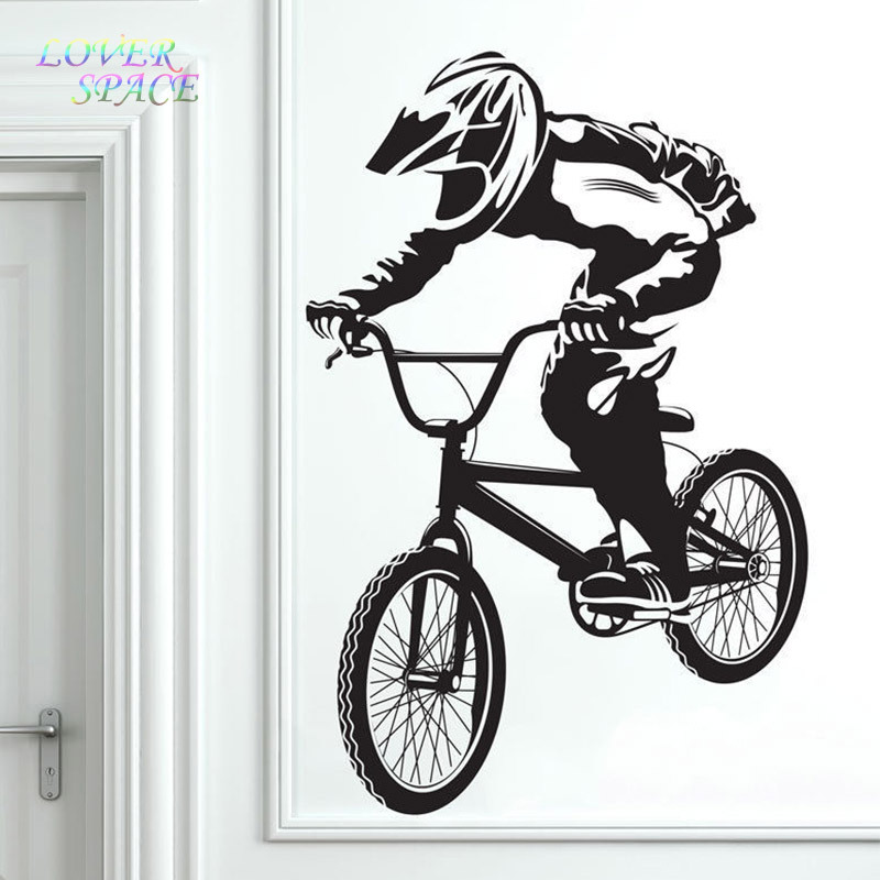 Free Shipping BMX Bike Bicycle Biker Boys Wall Decal Vinyl Home Decor Wall Sticker Vinyl Wall Decorative Stickers Mural Poster