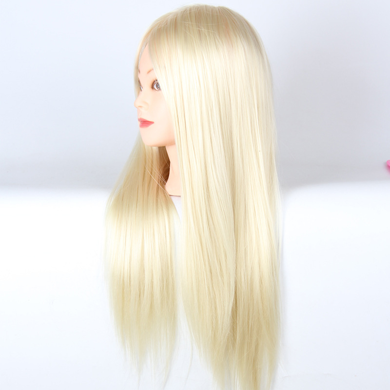 Mannequin de cheveux blanc coiffure coiffure tête d'entraînement 21 pouces tête de Mannequin de cheveux cosmétologie tête de Mannequin pour la pratique