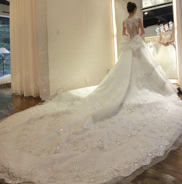 Super Long Train Wedding Dresses 2016 Luxury Lace Ball Gown ...