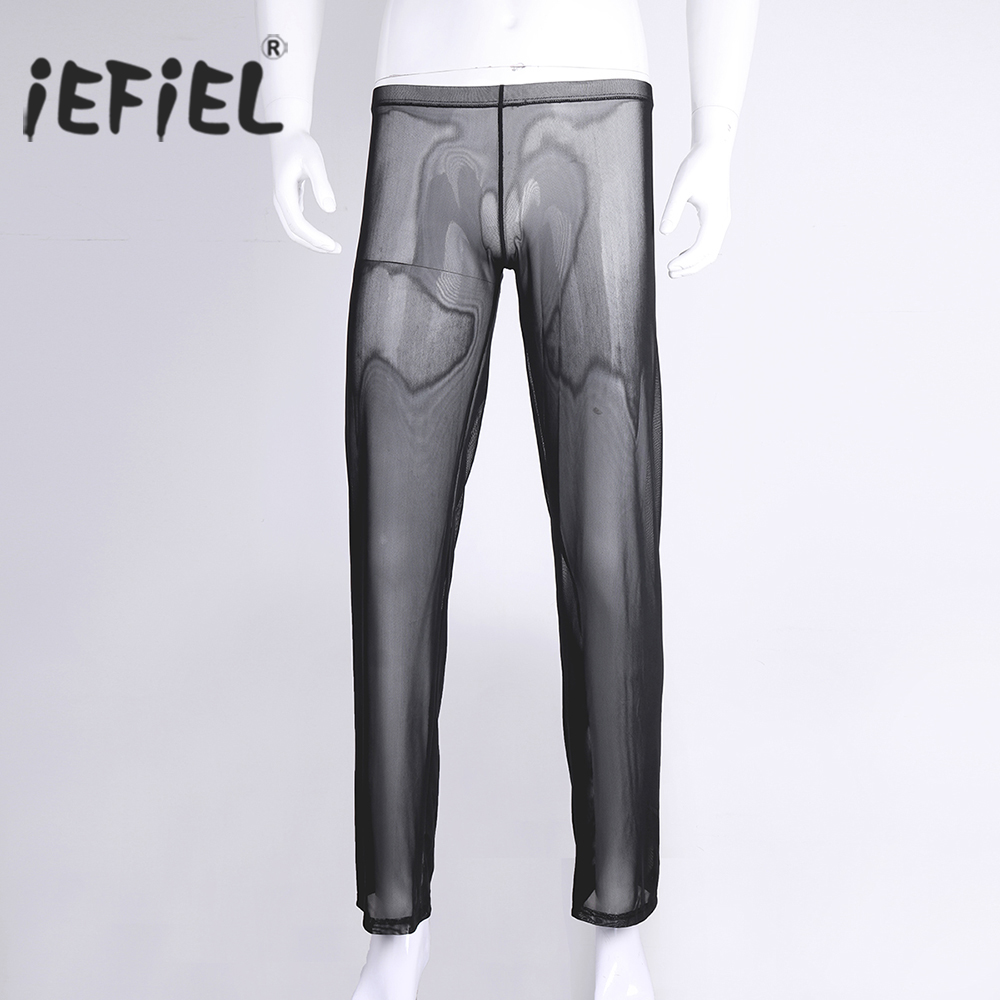 iEFiEL Lingerie Male Sexy Gay Mens Comfortable Pants Mesh Transparent Underwear See-through Wetlook Nightwear Clubwear Pants