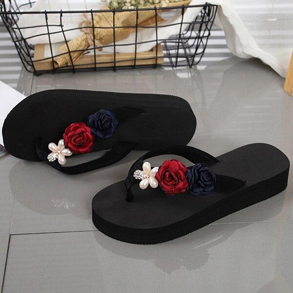 Summer Women Flip-Flop Sandal Flowers Lady Beach Casual Shoes Girl Thong Flip Flop Best Sale-WT кардиган flip flop