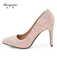 Fanyuan Vrouwen Pompen Schoenen Vrouw Sexy Hoge Hakken Glitter Bruiloft hakken Schoenen Vrouwelijke wit zwart roze partij Schoenen Stiletto 10 CM