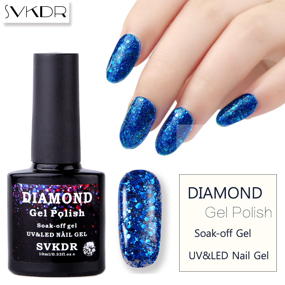 SVKDR Professional UV Gelpolish Diamond Glitter UV Nail Polish Nail ...
