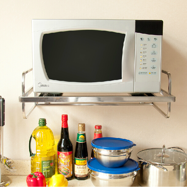 Single layer wall mount stainless steel microwave oven shelf stand ...