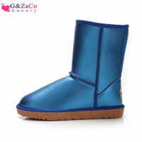 G&Zaco Luxury Winter Cowhide Snow Boots Female Cylinder Fur Black Waterproof Genuine Leather Boots Warm Mid Calf Flat Boots