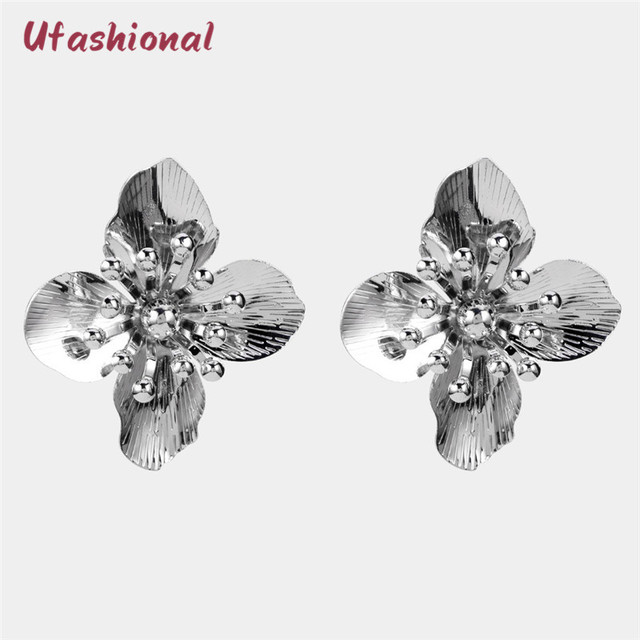 6890b2821a74 US $10.0 |New Aretes De Mujer Modernos Pendientes Plata Flower Earrings  Boucle D'oreille Fantaisie Joyas Acero Inoxidable Para Mujer-in Stud  Earrings ...