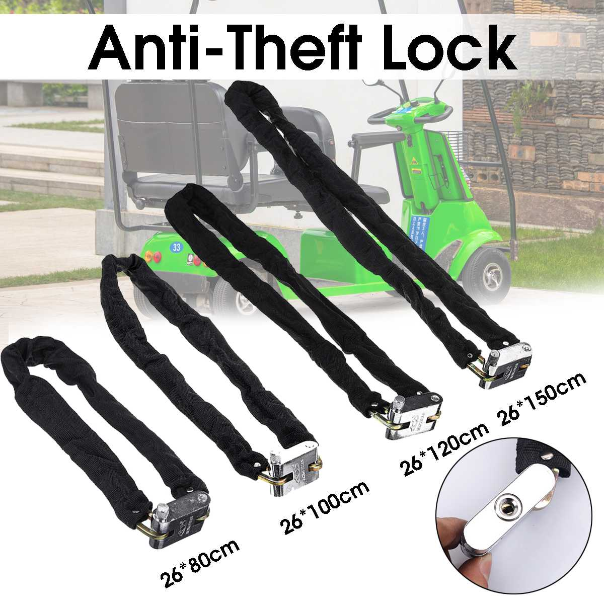 Motorcycle Anti-Theft Lock Outdoor Bike Metal Safe Chain Lock Security Reinforced Fabric Bicycle Scooter Door Chain Lock