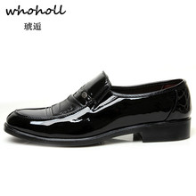 Whoholl 2018 New Spring Autumn Men Formal Wedding Shoes Luxury Business Dress Loafers Pointy Big Size 38-44