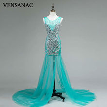 VENSANAC 2017 New Mermaid Crystals O Neck Long Evening Dresses Sleeveless Elegant Tank Sweep Train Lace Party Prom Gowns