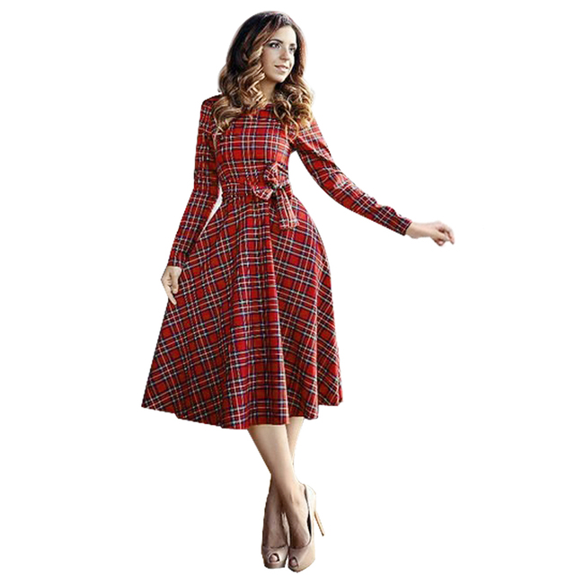 264520d8304 Autumn Women Dress 2017 Spring Party Dress Women Vestidos Mujer Vintage  Long Sleeve Red Plaid O-Neck Shirt Dresses Plus Size
