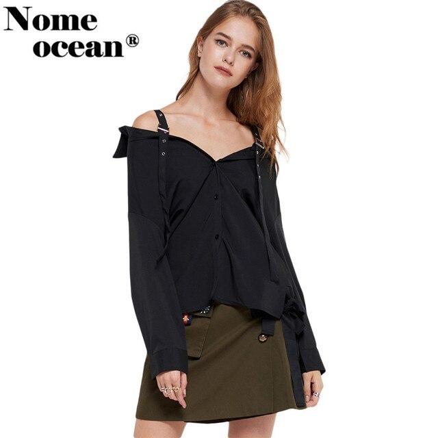82aed3f73c7767 Adjustable Buckle Belt Shoulder Strap Women's Shirts Slash Neck Off The Shoulder  Top Button-up Long Sleeve Blouses Top M17122804